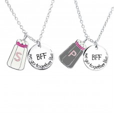 Salt And Pepper Best Friends Necklace Set - 925 Sterling Silver Necklaces with silver chains A4S30447