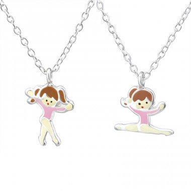 Pair Of Ballet - 925 Sterling Silver Necklaces with silver chains A4S30982