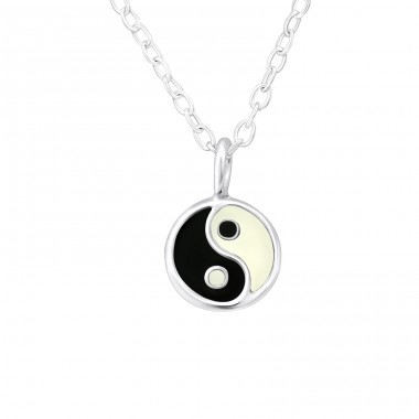 Yin-Yang - 925 Sterling Silver Necklaces with silver chains A4S31022