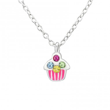 Cake - 925 Sterling Silver Necklaces with silver chains A4S31092