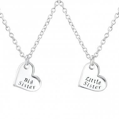 Sister's Love - 925 Sterling Silver Necklaces with silver chains A4S31093
