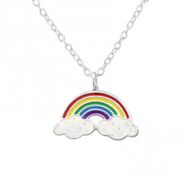Rainbow - 925 Sterling Silver Necklaces with silver chains A4S32001
