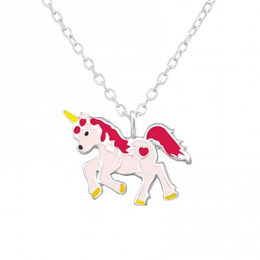 Unicorn - 925 Sterling Silver Necklaces with silver chains A4S32002
