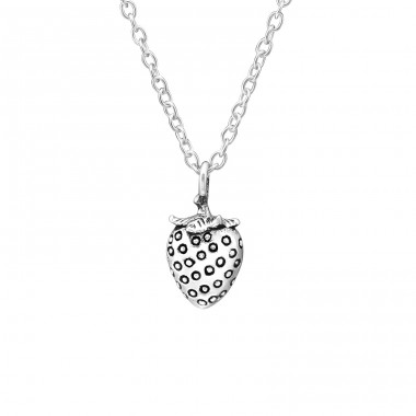 Strawberry - 925 Sterling Silver Necklaces with silver chains A4S32231