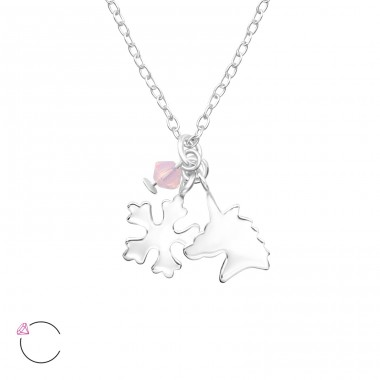 Unicorn And Snowflake - 925 Sterling Silver Necklaces with silver chains A4S32734