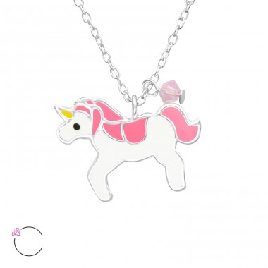 Unicorn - 925 Sterling Silver Necklaces with silver chains A4S32738