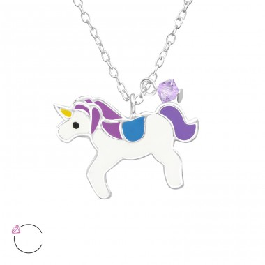 Unicorn - 925 Sterling Silver Necklaces with silver chains A4S32739