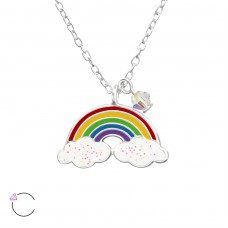 Rainbow - 925 Sterling Silver Necklaces with silver chains A4S32741