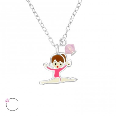 Gymnastics Girl - 925 Sterling Silver Necklaces with silver chains A4S32743