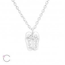 Ballerina Shoes - 925 Sterling Silver Necklaces with silver chains A4S32749