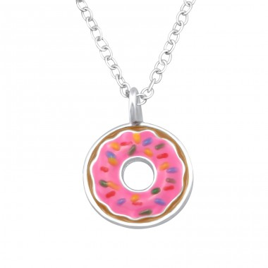 Doughnut - 925 Sterling Silver Necklaces with silver chains A4S33463