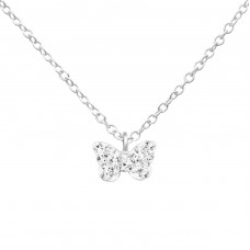 Butterfly - 925 Sterling Silver + Crystal Necklaces With Silver Chains A4S34182