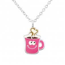 Coffee Mug - 925 Sterling Silver Necklaces with silver chains A4S34559