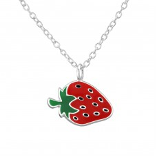 Strawberry - 925 Sterling Silver Necklaces with silver chains A4S34560