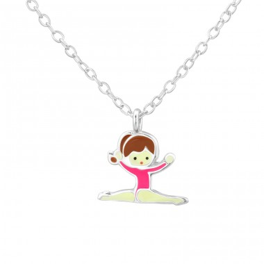 Gymnastics Girl - 925 Sterling Silver Necklaces with silver chains A4S35115