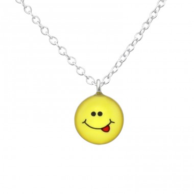 Cheeky Face - 925 Sterling Silver Necklaces with silver chains A4S35135