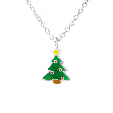 Christmas Tree - 925 Sterling Silver Necklaces with silver chains A4S35186