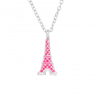 Eiffel Tower - 925 Sterling Silver Necklaces with silver chains A4S35573