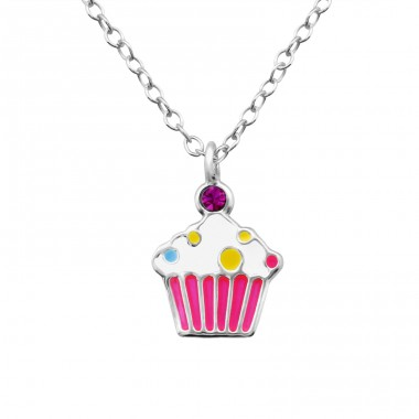 Cupcake - 925 Sterling Silver Necklaces with silver chains A4S36295