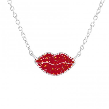 Lips - 925 Sterling Silver Necklaces with silver chains A4S36704