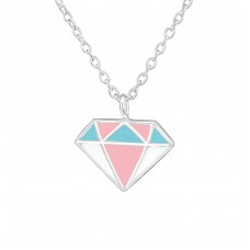 Diamond Shaped - 925 Sterling Silver Necklaces with silver chains A4S36707