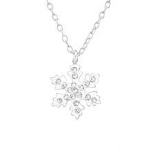 Snowflake - 925 Sterling Silver Necklaces with silver chains A4S37606