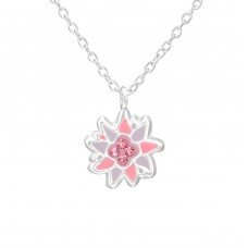 Flower - 925 Sterling Silver Necklaces with silver chains A4S38515