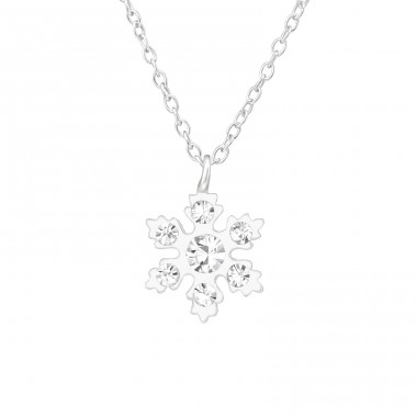 Snowflake - 925 Sterling Silver Necklaces with silver chains A4S38637