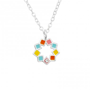 Flower with squares - 925 Sterling Silver Necklaces With Silver Chains A4S40226