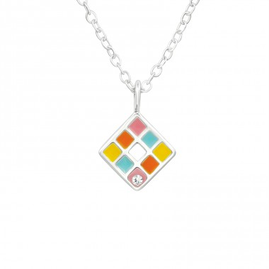 Colorful squares - 925 Sterling Silver Necklaces With Silver Chains A4S40228