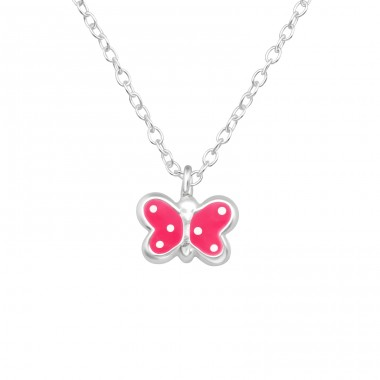 Pink Butterfly - 925 Sterling Silver Necklaces With Silver Chains A4S40443