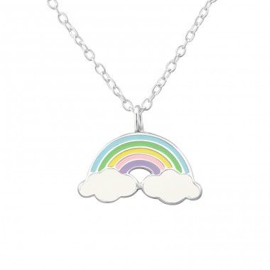 Rainbow - 925 Sterling Silver Necklaces with silver chains A4S40687