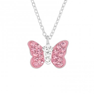 Rose Butterfly - 925 Sterling Silver Necklaces With Silver Chains A4S40997