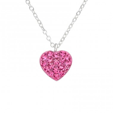 Rose crystal Heart - 925 Sterling Silver Necklaces With Silver Chains A4S41599