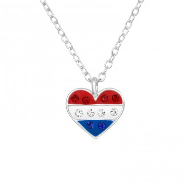 Red, White Blue, Heart - 925 Sterling Silver Necklaces With Silver Chains A4S42192