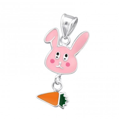 Rabbit And Carrot - 925 Sterling Silver Pendants for kids A4S15494