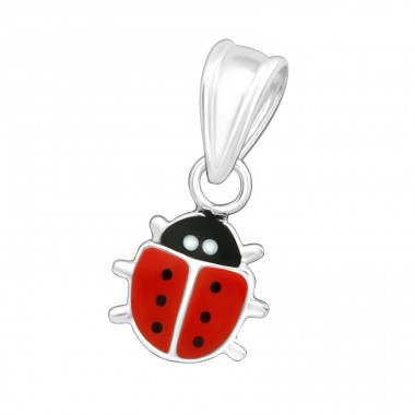 Ladybird - 925 Sterling Silver + Epoxy Colour Pendants For Kids A4S17759