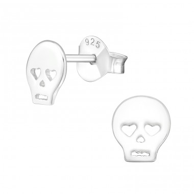 Skull - 925 Sterling Silver Ear Studs for kids A4S18817