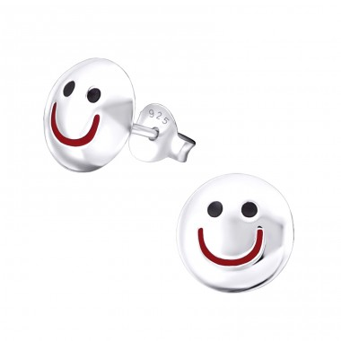 Smiling Face - 925 Sterling Silver Ear Studs for kids A4S19343