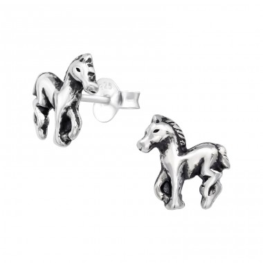 Horse - 925 Sterling Silver Ear Studs without stones A4S19914