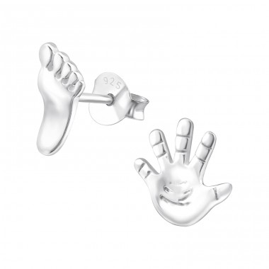 Hand And Foot - 925 Sterling Silver Ear Studs for kids A4S20815
