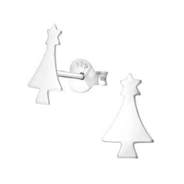 Christmas Tree - 925 Sterling Silver Ear Studs for kids A4S23406