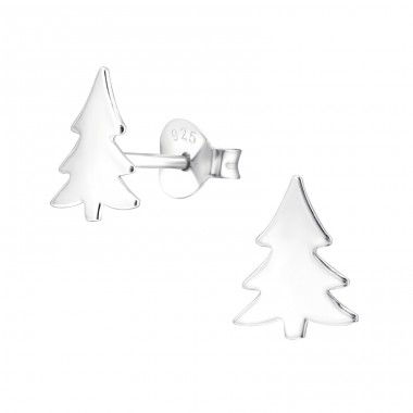 Christmas Tree - 925 Sterling Silver Ear Studs for kids A4S28605