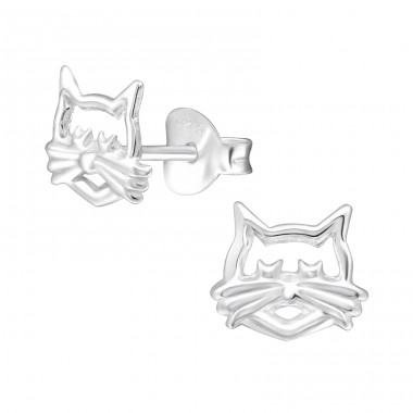 Cat Face - 925 Sterling Silver Ear Studs for kids A4S28609