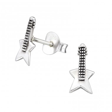 Guitar - 925 Sterling Silver Ear Studs for kids A4S29016