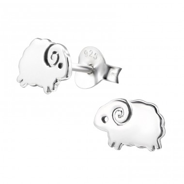 Sheep - 925 Sterling Silver Ear Studs for kids A4S29017