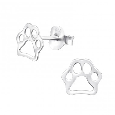 Paw Print - 925 Sterling Silver Ear Studs for kids A4S29340