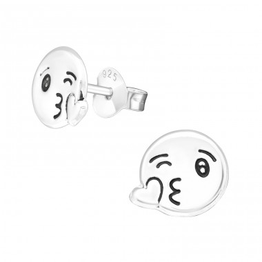 Kiss Face - 925 Sterling Silver Ear Studs for kids A4S29344
