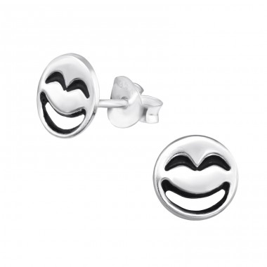 Laughing Face - 925 Sterling Silver Ear Studs for kids A4S30163