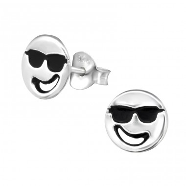 Cool Face - 925 Sterling Silver Ear Studs for kids A4S30167